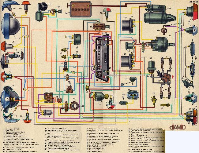 Схема электрооборудования Запорожец 968М