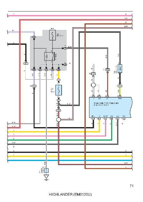 Цветные схемы электрооборудования Toyota Highlander 2006
