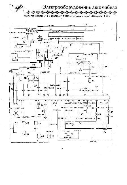 Схема электрооборудования Ford Bronco II / Ranger 2,8 (1984г)