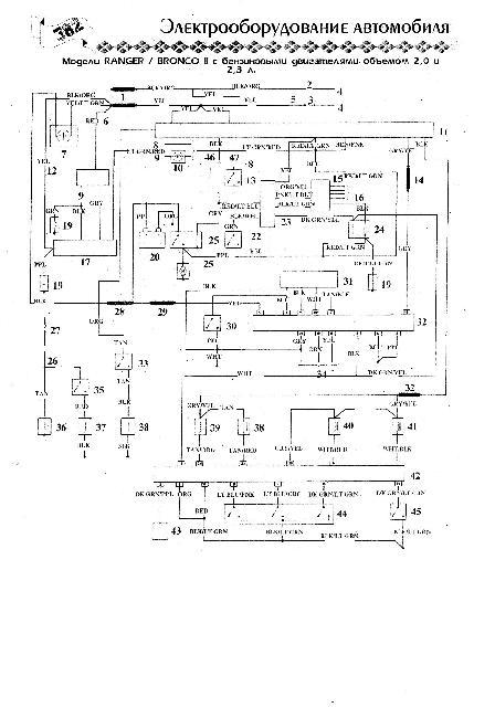 Схема электрооборудования Ford Bronco II / Ranger 2,0 и 2,3