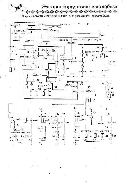 Схема электрооборудования Ford Bronco II / Ranger Дизель (1984г)