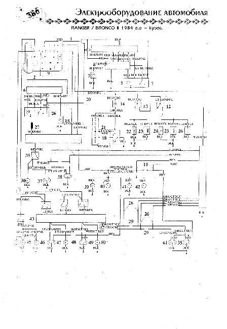 Схема электрооборудования Ford Bronco II / Ranger 1984 г.г - кузов
