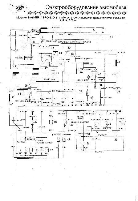 Схема электрооборудования Ford Bronco II / Ranger 2,3 и 2,9 (1986г)