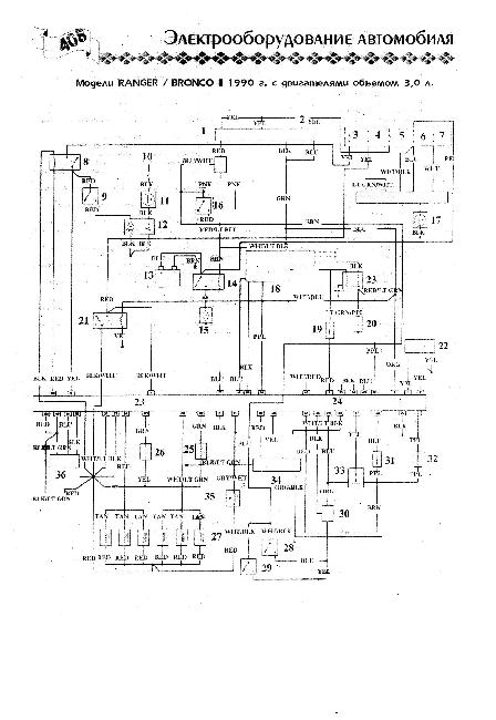 Схема электрооборудования Ford Bronco II / Ranger 3.0 (1990)