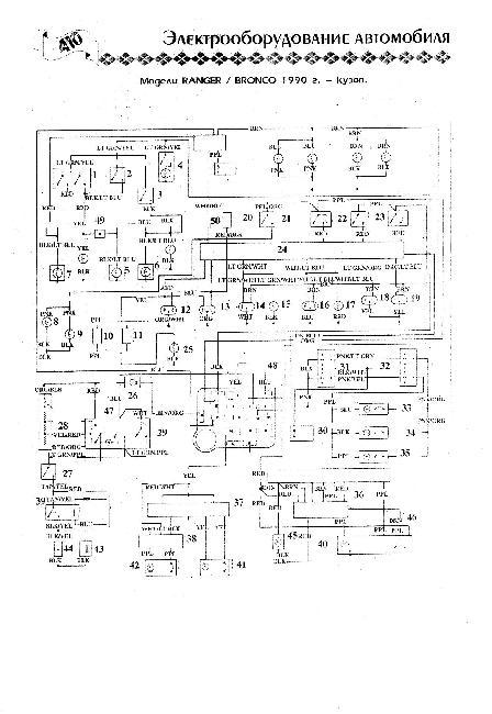 Схема электрооборудования Ford Bronco II / Ranger 1990 г.г - кузов