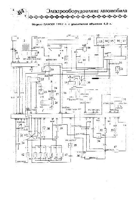 Схема электрооборудования Ford Bronco II / Ranger 4.0 (1992г)