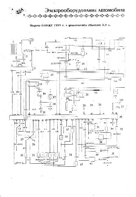 Схема электрооборудования Ford Ranger 3.0 (1994г)