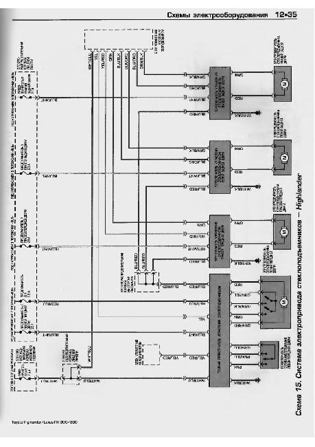Схемы электрооборудования Toyota Highlander / Lexus RX 300 / 330 1999-2006 г.