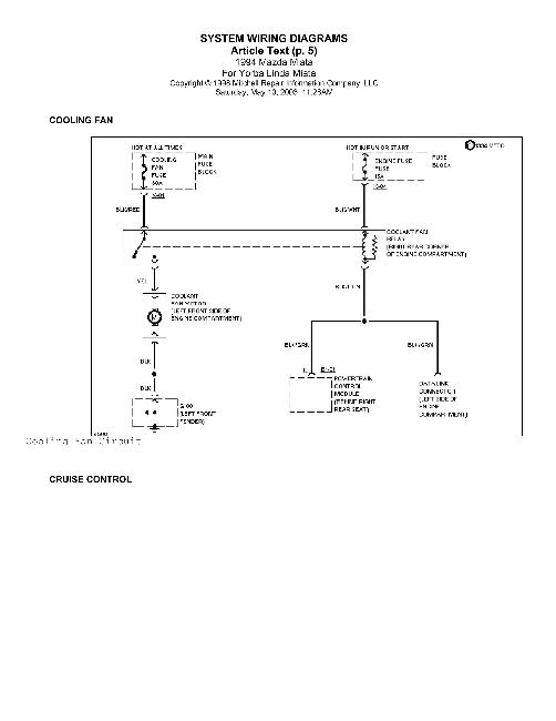 Схемы электрооборудования Mazda miata MX-5 1990-2000