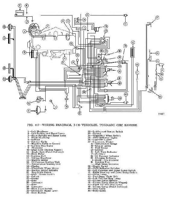 1963 cj5 wiring schematic Схема электрооборудования jeep tornado 230 (1962-1965 ... 1972 cj5 wiring schematic