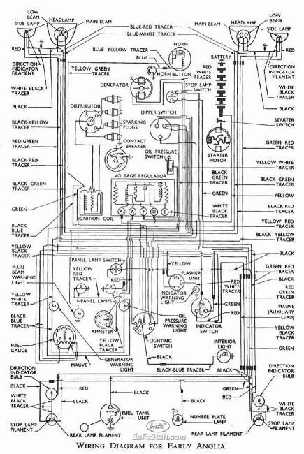 Электрическая схема Ford Anglia