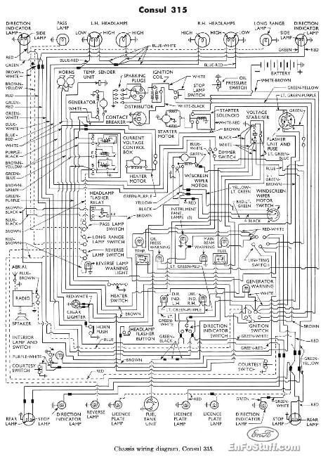 Схема электрооборудования Ford Consul 315