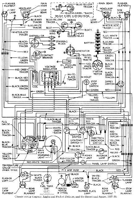 Схема электрооборудования Ford Anglia и Perfect DeLuxe, Escort и Squire
