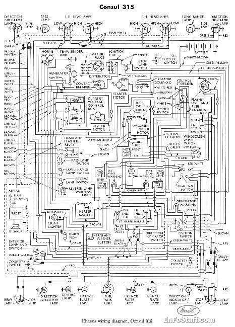 Электрическая схема Ford Consul 315