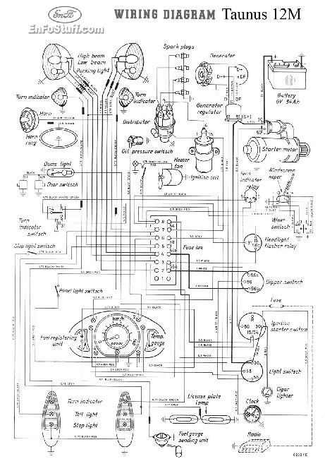 Схема электрооборудования Ford Taunus 12M (G13) (1952-1959)