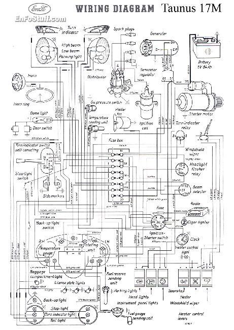 Схема электрооборудования Ford Taunus 17M (P2) (1957-1960)