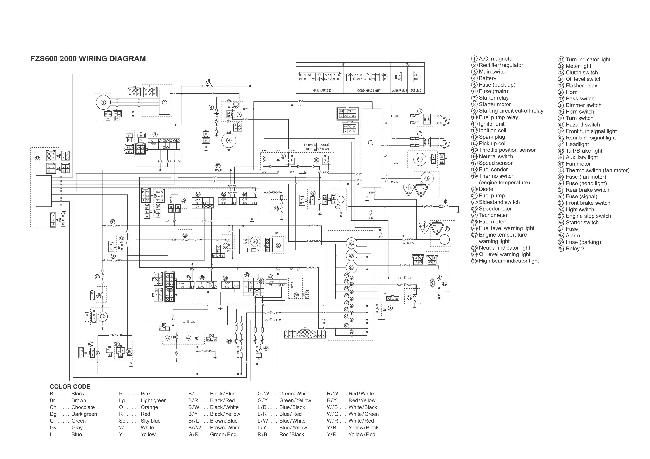 Схема электрооборудования мотоцикла Yamaha FZS600 (2000)