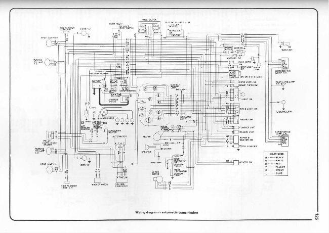 Схема электрооборудования Datsun 1200 с автоматической коробкой (1970-1973)
