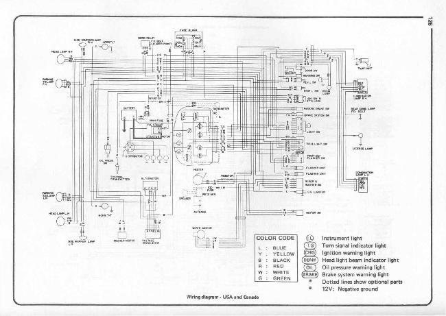 Схема электрооборудования Datsun 1200 (USA и Канада) (1970-1973)