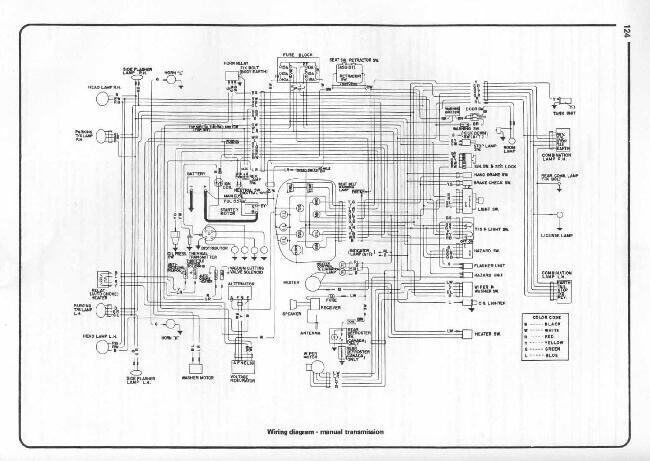 Схема электрооборудования Datsun 1200 с механической коробкой (1970-1973)