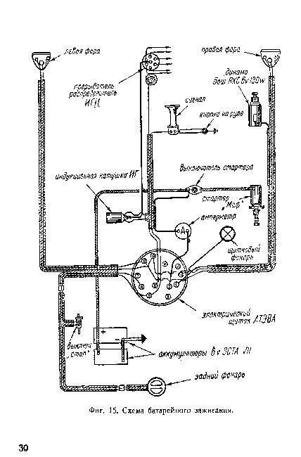 Схемы электрооборудования автомобиля ЗИС 6