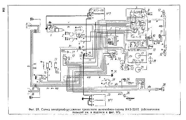 Схемы электрооборудования трехосных автомобилей ЯАЗ 210(А, Г, Д, Е)