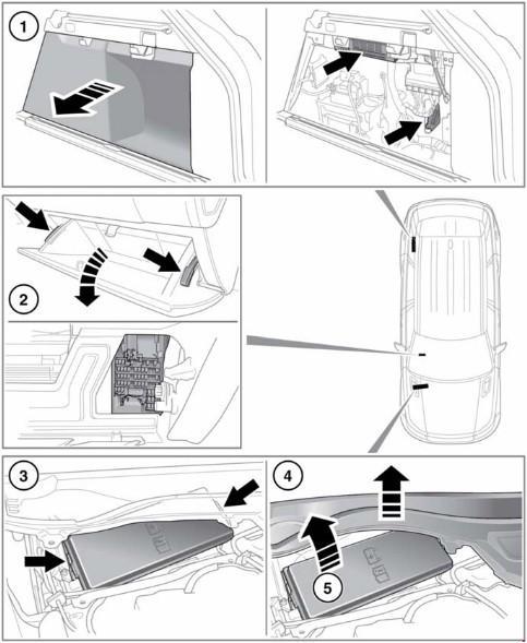 Перечень предохранителей Range Rover Sport (L494) 2014