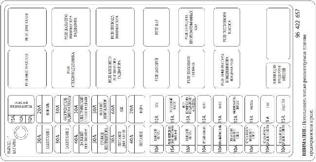 Схема расположения предохранителей и реле Chevrolet Rezzo (1,6 и 2,0)