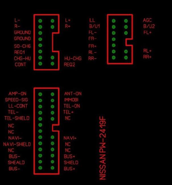 Распиновка разъемов автомагнитолы Nissan PW-2419F