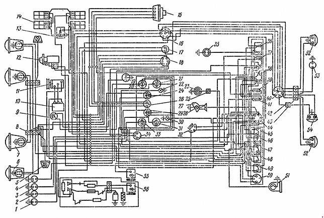 Cхема электрооборудования одноосного тягача МоАЗ-546П
